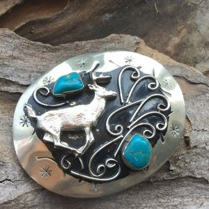 Accessories - Vintage Sterling Silver and Turquoise Belt Buckle
